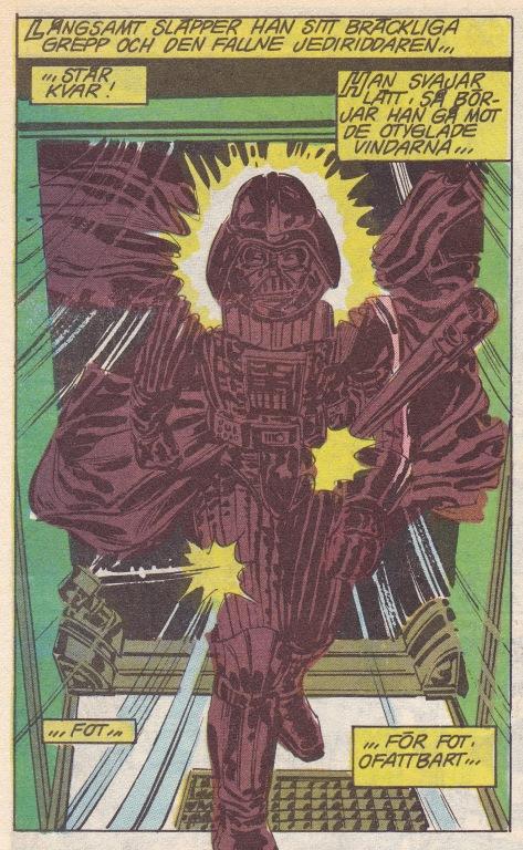 """Darth Vader trotsar en öppen luftsluss! Mordförsöket misslyckades. Kunde dett gått på något annat sätt? Notera också att han benämns """"Fallen Jedi"""" inte Sith."""